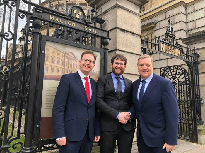 Me, pictured with James Lawless TD (Fianna Fáil Science and Technology Spokesperson) and Minister Pat Breen TD (Minister of State with special responsibility for Trade, Employment, Business, EU Digital Single Market and Data Protection) outside the Irish Parliament
